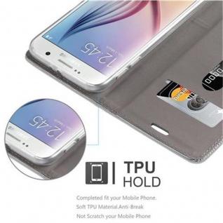 Cadorabo Hülle für Samsung Galaxy S6 in HELL GRAU BRAUN Handyhülle mit Magnetverschluss, Standfunktion und Kartenfach Case Cover Schutzhülle Etui Tasche Book Klapp Style - Vorschau 4
