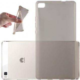 Cadorabo Hülle für Huawei P8 in TRANSPARENT SCHWARZ - Handyhülle aus flexiblem TPU Silikon - Silikonhülle Schutzhülle Ultra Slim Soft Back Cover Case Bumper