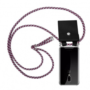 Cadorabo Handy Kette für OnePlus 6T in ROT WEISS Silikon Necklace Umhänge Hülle mit Silber Ringen, Kordel Band Schnur und abnehmbarem Etui Schutzhülle