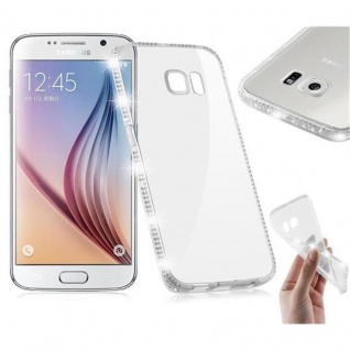 Cadorabo Hülle für Samsung Galaxy S6 - Hülle in TRANSPARENT WEIß - Handyhülle aus TPU Silikon im Strass Design - Silikonhülle Schutzhülle Ultra Slim Soft Back Cover Case Bumper