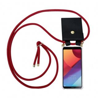 Cadorabo Handy Kette für LG G6 in RUBIN ROT - Silikon Necklace Umhänge Hülle mit Gold Ringen, Kordel Band Schnur und abnehmbarem Etui ? Schutzhülle