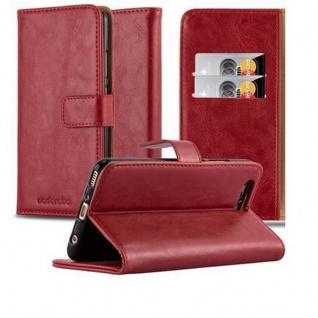 Cadorabo Hülle für Huawei P10 PLUS in WEIN ROT ? Handyhülle mit Magnetverschluss, Standfunktion und Kartenfach ? Case Cover Schutzhülle Etui Tasche Book Klapp Style