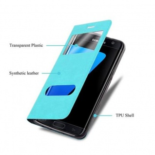 Cadorabo Hülle für Samsung Galaxy S7 EDGE in MINT TÜRKIS ? Handyhülle mit Magnetverschluss, Standfunktion und 2 Sichtfenstern ? Case Cover Schutzhülle Etui Tasche Book Klapp Style - Vorschau 3