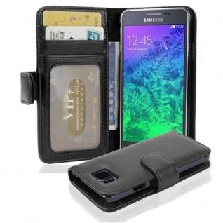 Cadorabo Hülle für Samsung Galaxy ALPHA in OXID SCHWARZ Handyhülle mit Magnetverschluss und 3 Kartenfächern Case Cover Schutzhülle Etui Tasche Book Klapp Style