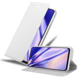Cadorabo Hülle für Samsung Galaxy A10 in CLASSY SILBER Handyhülle mit Magnetverschluss, Standfunktion und Kartenfach Case Cover Schutzhülle Etui Tasche Book Klapp Style