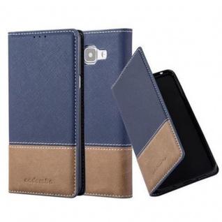 Cadorabo Hülle für Samsung Galaxy A3 2016 in DUNKEL BLAU BRAUN - Handyhülle mit Magnetverschluss, Standfunktion und Kartenfach - Case Cover Schutzhülle Etui Tasche Book Klapp Style