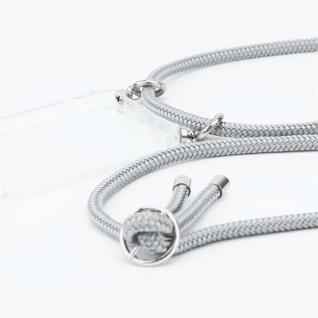 Cadorabo Handy Kette für OnePlus 6 in SILBER GRAU Silikon Necklace Umhänge Hülle mit Silber Ringen, Kordel Band Schnur und abnehmbarem Etui Schutzhülle - Vorschau 3