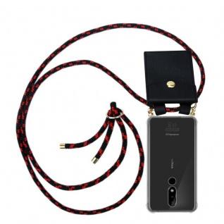 Cadorabo Handy Kette für Nokia 3.1 Plus in SCHWARZ ROT Silikon Necklace Umhänge Hülle mit Gold Ringen, Kordel Band Schnur und abnehmbarem Etui Schutzhülle