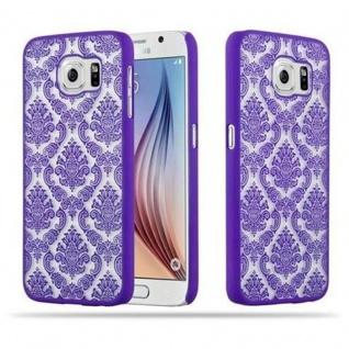 Samsung Galaxy S6 (NICHT für EDGE) Hardcase Hülle in LILA von Cadorabo - Blumen Paisley Henna Design Schutzhülle ? Handyhülle Bumper Back Case Cover