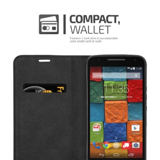 Cadorabo Hülle für Motorola MOTO X2 in APFEL ROT Handyhülle mit Magnetverschluss, Standfunktion und Kartenfach Case Cover Schutzhülle Etui Tasche Book Klapp Style - Vorschau 4
