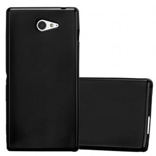 Cadorabo Hülle für Sony Xperia M2 / M2 Aqua in METALLIC SCHWARZ - Handyhülle aus flexiblem TPU Silikon - Silikonhülle Schutzhülle Ultra Slim Soft Back Cover Case Bumper