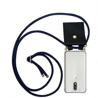 Cadorabo Handy Kette für Motorola MOTO G4 / G4 PLUS in TIEF BLAU - Silikon Necklace Umhänge Hülle mit Gold Ringen, Kordel Band Schnur und abnehmbarem Etui ? Schutzhülle
