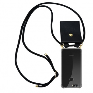 Cadorabo Handy Kette für Huawei NOVA 2 in SCHWARZ Silikon Necklace Umhänge Hülle mit Gold Ringen, Kordel Band Schnur und abnehmbarem Etui Schutzhülle