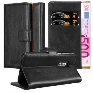 Cadorabo Hülle für OnePlus 2 in GRAPHIT SCHWARZ Handyhülle mit Magnetverschluss, Standfunktion und Kartenfach Case Cover Schutzhülle Etui Tasche Book Klapp Style