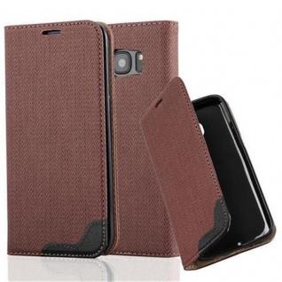 Cadorabo Hülle für Samsung Galaxy S7 EDGE - Hülle in KASTANIEN BRAUN ? Handyhülle in Bast-Optik mit Kartenfach und Standfunktion - Case Cover Schutzhülle Etui Tasche Book Klapp Style