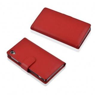 Cadorabo Hülle für Sony Xperia Z1 in INFERNO ROT - Handyhülle aus strukturiertem Kunstleder mit Standfunktion und Kartenfach - Case Cover Schutzhülle Etui Tasche Book Klapp Style - Vorschau 3
