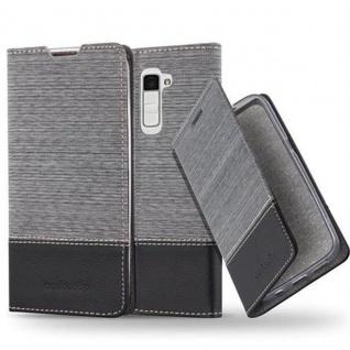 Cadorabo Hülle für LG K10 2016 in GRAU SCHWARZ - Handyhülle mit Magnetverschluss, Standfunktion und Kartenfach - Case Cover Schutzhülle Etui Tasche Book Klapp Style