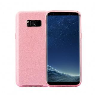 Cadorabo Hülle für Samsung Galaxy S8 - Hülle in STERNENSTAUB PINK ? TPU Silikon und Hardcase Handyhülle im Glitzer Design - Hard Case TPU Silikon Schutzhülle