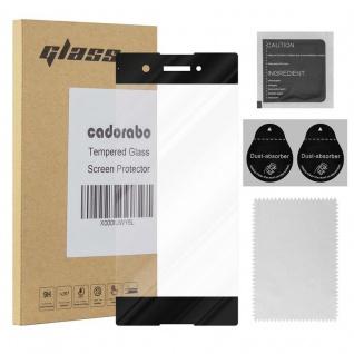 Cadorabo Vollbild Panzer Folie für Sony Xperia XA1 - Schutzfolie in TRANSPARENT mit SCHWARZ - Gehärtetes (Tempered) Display-Schutzglas in 9H Härte mit 3D Touch Kompatibilität