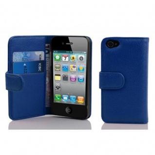 Cadorabo Hülle für Apple iPhone 4 / iPhone 4S in KÖNIGS BLAU ? Handyhülle aus strukturiertem Kunstleder mit Standfunktion und Kartenfach ? Case Cover Schutzhülle Etui Tasche Book Klapp Style