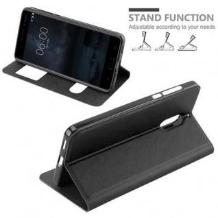 Cadorabo Hülle für Nokia 6 2017 in KOMETEN SCHWARZ - Handyhülle mit Magnetverschluss, Standfunktion und 2 Sichtfenstern - Case Cover Schutzhülle Etui Tasche Book Klapp Style - Vorschau 4