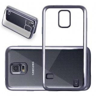 Cadorabo Hülle für Samsung Galaxy S5 / S5 NEO - Hülle in TRANSPARENT mit CHROM SCHWARZ ? Handyhülle aus TPU Silikon im Chrom Design - Silikonhülle Schutzhülle Ultra Slim Soft Back Cover Case Bumper - Vorschau 1