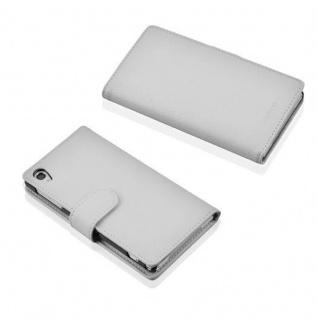Cadorabo Hülle für Sony Xperia Z2 in MAGNESIUM WEIß - Handyhülle aus strukturiertem Kunstleder mit Standfunktion und Kartenfach - Case Cover Schutzhülle Etui Tasche Book Klapp Style - Vorschau 3