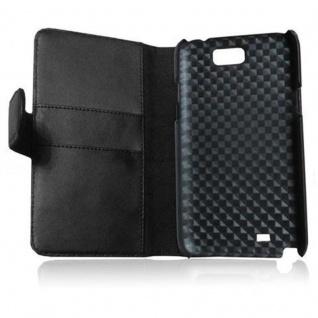 Cadorabo Hülle für Samsung Galaxy NOTE 2 in KAVIAR SCHWARZ - Handyhülle aus glattem Kunstleder mit Standfunktion und Kartenfach - Case Cover Schutzhülle Etui Tasche Book Klapp Style - Vorschau 2