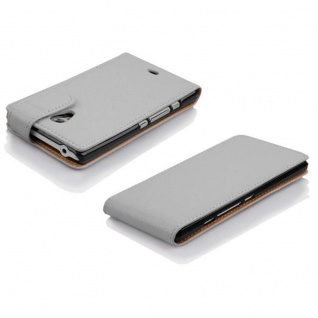 Cadorabo Hülle für Sony Xperia T in MAGNESIUM WEIß - Handyhülle im Flip Design aus strukturiertem Kunstleder - Case Cover Schutzhülle Etui Tasche Book Klapp Style - Vorschau 3