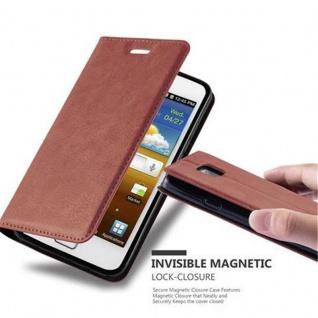 Cadorabo Hülle für Samsung Galaxy S2 / S2 PLUS in CAPPUCCINO BRAUN - Handyhülle mit Magnetverschluss, Standfunktion und Kartenfach - Case Cover Schutzhülle Etui Tasche Book Klapp Style