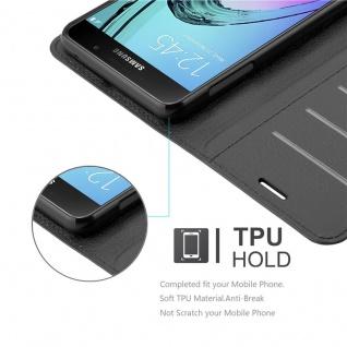 Cadorabo Hülle für Samsung Galaxy A7 2016 in PHANTOM SCHWARZ - Handyhülle mit Magnetverschluss, Standfunktion und Kartenfach - Case Cover Schutzhülle Etui Tasche Book Klapp Style - Vorschau 3