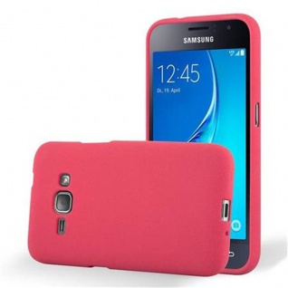 Cadorabo Hülle für Samsung Galaxy J1 2016 in FROST ROT - Handyhülle aus flexiblem TPU Silikon - Silikonhülle Schutzhülle Ultra Slim Soft Back Cover Case Bumper