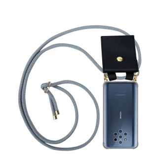Cadorabo Handy Kette für Nokia 10 in SILBER GRAU Silikon Necklace Umhänge Hülle mit Gold Ringen, Kordel Band Schnur und abnehmbarem Etui Schutzhülle