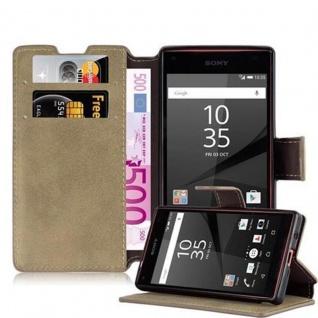 Cadorabo Hülle für Sony Xperia Z5 COMPACT - Hülle in MATT SAND BRAUN ? Handyhülle mit Standfunktion und Kartenfach im Retro Design - Case Cover Schutzhülle Etui Tasche Book Klapp Style