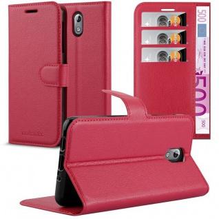Cadorabo Hülle für Nokia 3.1 2018 in KARMIN ROT Handyhülle mit Magnetverschluss, Standfunktion und Kartenfach Case Cover Schutzhülle Etui Tasche Book Klapp Style