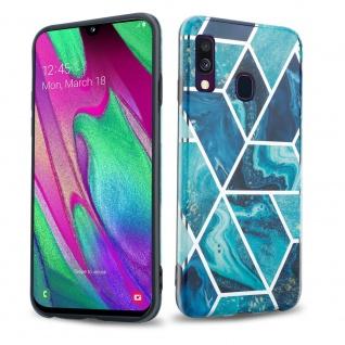 Cadorabo Hülle für Samsung Galaxy A40 Hülle in Blaue Welle Marmor No.13 Handyhülle aus TPU Silikon mit Muster Mosaik Silikonhülle Schutzhülle Ultra Slim Back Cover Case Bumper