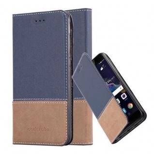 Cadorabo Hülle für Huawei P8 LITE 2017 in BLAU BRAUN - Handyhülle mit Magnetverschluss, Standfunktion und Kartenfach - Case Cover Schutzhülle Etui Tasche Book Klapp Style