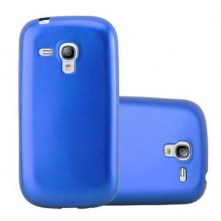 Cadorabo Hülle für Samsung Galaxy S3 MINI in METALLIC BLAU - Handyhülle aus flexiblem TPU Silikon - Silikonhülle Schutzhülle Ultra Slim Soft Back Cover Case Bumper