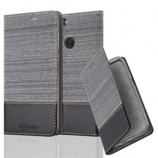 Cadorabo Hülle für Huawei P SMART 2018 / Enjoy 7S in GRAU SCHWARZ Handyhülle mit Magnetverschluss, Standfunktion und Kartenfach Case Cover Schutzhülle Etui Tasche Book Klapp Style