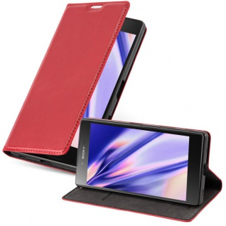 Cadorabo Hülle für Sony Xperia Z in APFEL ROT Handyhülle mit Magnetverschluss, Standfunktion und Kartenfach Case Cover Schutzhülle Etui Tasche Book Klapp Style