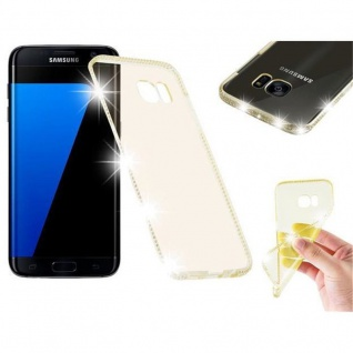 Cadorabo Hülle für Samsung Galaxy S7 EDGE - Hülle in TRANSPARENT GOLD ? Handyhülle aus TPU Silikon im Strass Design - Silikonhülle Schutzhülle Ultra Slim Soft Back Cover Case Bumper