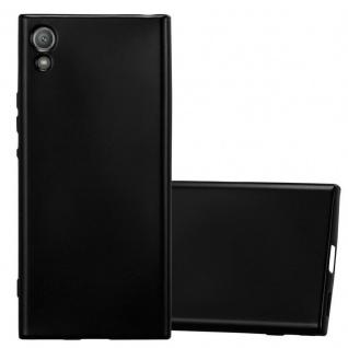 Cadorabo Hülle für Sony Xperia XA1 in METALLIC SCHWARZ - Handyhülle aus flexiblem TPU Silikon - Silikonhülle Schutzhülle Ultra Slim Soft Back Cover Case Bumper
