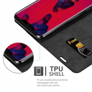 Cadorabo Hülle für Huawei MATE 20 PRO in NACHT SCHWARZ - Handyhülle mit Magnetverschluss, Standfunktion und Kartenfach - Case Cover Schutzhülle Etui Tasche Book Klapp Style - Vorschau 2