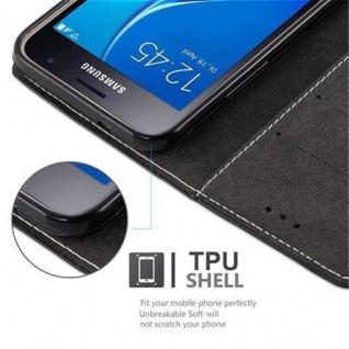 Cadorabo Hülle für Samsung Galaxy J1 2016 in SCHWARZ BRAUN ? Handyhülle mit Magnetverschluss, Standfunktion und Kartenfach ? Case Cover Schutzhülle Etui Tasche Book Klapp Style - Vorschau 2