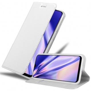 Cadorabo Hülle für Samsung Galaxy A30S in CLASSY SILBER - Handyhülle mit Magnetverschluss, Standfunktion und Kartenfach - Case Cover Schutzhülle Etui Tasche Book Klapp Style