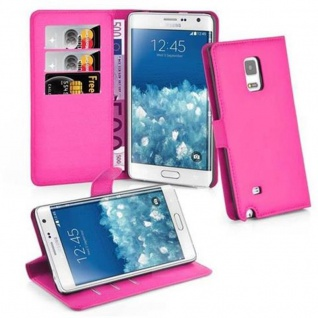Cadorabo Hülle für Samsung Galaxy NOTE EDGE - Hülle in CHERRY PINK ? Handyhülle mit Kartenfach und Standfunktion - Case Cover Schutzhülle Etui Tasche Book Klapp Style