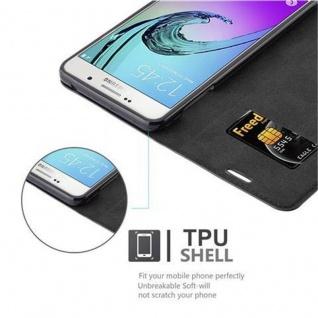 Cadorabo Hülle für Samsung Galaxy A7 2016 in NACHT SCHWARZ - Handyhülle mit Magnetverschluss, Standfunktion und Kartenfach - Case Cover Schutzhülle Etui Tasche Book Klapp Style - Vorschau 2
