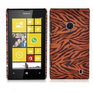 Cadorabo - Hard Cover für Nokia Lumia 520 - Case Cover Schutzhülle Bumper im Design: BROWN TIGER