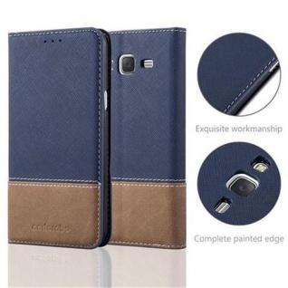 Cadorabo Hülle für Samsung Galaxy J5 2015 in DUNKEL BLAU BRAUN ? Handyhülle mit Magnetverschluss, Standfunktion und Kartenfach ? Case Cover Schutzhülle Etui Tasche Book Klapp Style