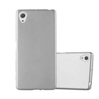 Cadorabo Hülle für Sony Xperia X - Hülle in METALLIC SILBER ? Handyhülle aus TPU Silikon im Matt Metallic Design - Ultra Slim Soft Backcover Case Bumper